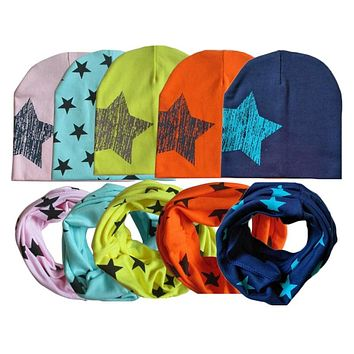 Autumn Winter Warm Baby Hat With Scarf Cotton Toddler Infant Kids Caps Scarves Collar Star Print Boys Girls Hats Set