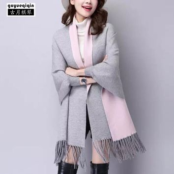 Fashion 15 Colors Scarf Women Winter Scarves Long Wrap Shawl Thick Warm Cotton Cashmere Wool Femme Poncho Scarf Cape With Sleeve