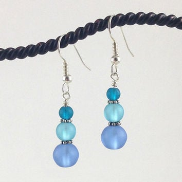 Blue Sea Glass Tumbled Frosted Crafted Glass Beaded Dangle Earrings Jewelry Something Blue