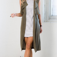 Army Green Long Vest Coat