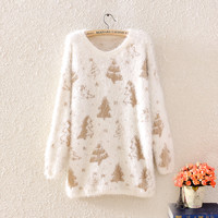 Golden tree maomao loose soft round collar pullovers