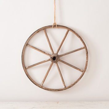 Antique Victorian Wooden Buggy Wheel - Spoked Wheel - Metal Rim - Carriage Wheel - Shabby Salvage