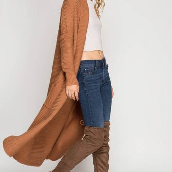 Ribbed Sweater Duster with Pockets