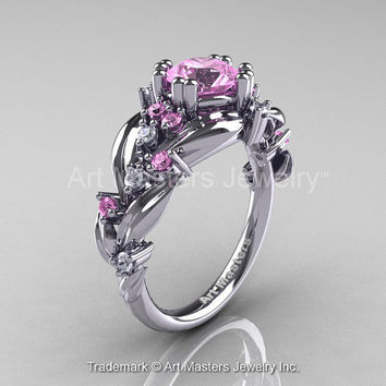 Nature Classic 14K White Gold 1.0 Ct Light Pink Sapphire Diamond Leaf and Vine Engagement Ring R340-14KWGDLPS
