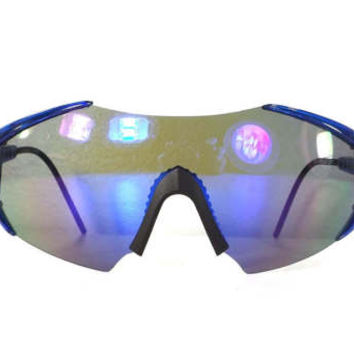 vintage 80s deadstock shield razor blade style sunglasses oversized wrap around robot space bug clear blue plastic lightweight black b105