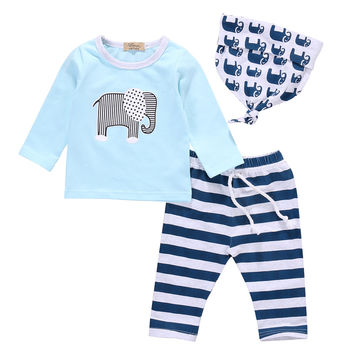 3pcs!! Baby Boy Girl Kids Newborn Infant Long Sleeve Top T shirt+Stripped Long Pants Hat Trousers Elephant Outfits Clothing Set