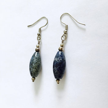 Blue Sodalite Dangle Earrings, Silver Wire French Hook Drop Earrings, Denim Blue Polished Sodalite Earrings, Casual Earrings, BoHo Style