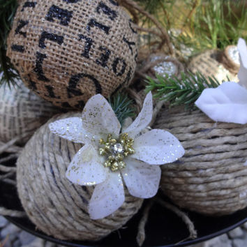 Handmade Christmas Ornaments, Burlap Ornament, Jute Ornament, Holiday Decor, Rustic Winter Wedding Centerpiece