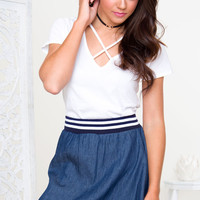 Penny Athletic Denim Skirt