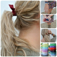 FB DEAL hair tie ponytail holders - custom pack you pick 4 - stretchy no dent no damage fold over elastic ribbon knotted ties