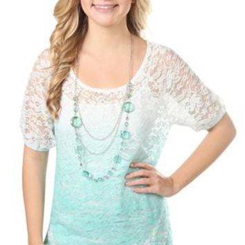 lace dip dye peasant top with necklace - debshops.com