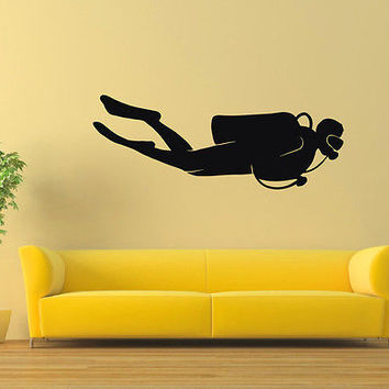 WALL DECAL VINYL STICKER GYM SPORT SCUBA DIVER DIVING SB240