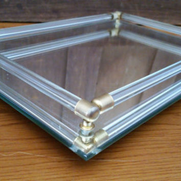 Vintage Rectangle Beveled Mid Century Mirrored Dresser Vanity Bar Tray Gold Br Corner Accents