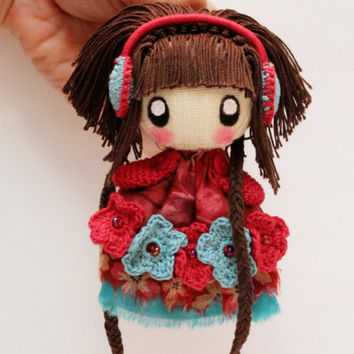 Textile brooch brown and blue Frosya little doll jewerly with earmuffs