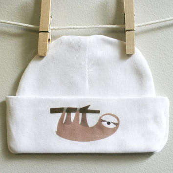 Sloth baby cap for babies that love Sloths
