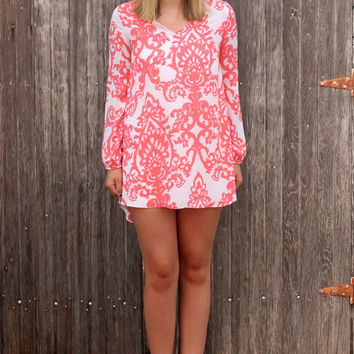 Coral Damask Tunic Dress