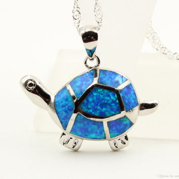 Cute Swimming Sea Turtle Blue Fire Opal Pendant Necklace - D