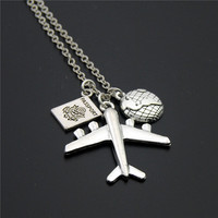 1pc 2017 Wanderlust Passport Earth Airplane Necklaces & Pendants Silver Travling Jewelry E1020