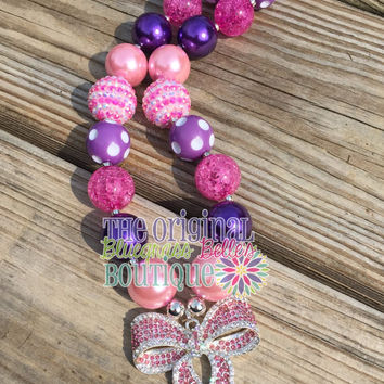 Pink and purple bow bubblegum necklace