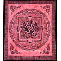Large Tibetan Style OM Tapestry, Aum Tie Dye Tapestry Wall Hanging on RoyalFurnish.com