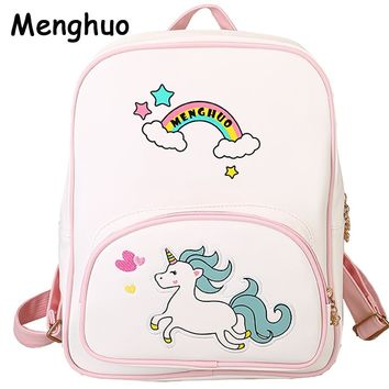 Menghuo New Cute Unicorn Backpack School Women Pu Leather Backpacks for Teenage Girls Funny Rainbow Shoulder Bags Female Mochila