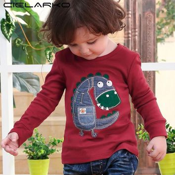 Cielarko Baby Boys T shirt Dinosaur Applique Children Clothing Long Sleeve Spring Boy Tops Cute Cartoon Kids Sweatshirt for Boy