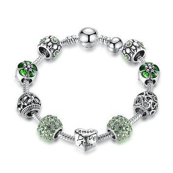 4 Colors Silver Charm Bracelet & Bangle with Love and Flower Beads Women Wedding Jewelry, Gifts