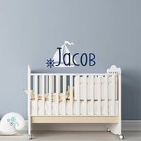 WonderWallzStore Personalized Nautical Wall Decal Name - Nautical Name Wall Decal - Name Wall Decal Boy Nursery Nautical Theme Decor - Boys Name Wall Decal