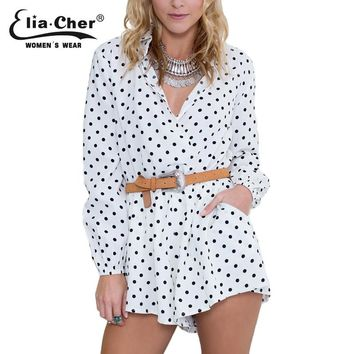 Full Sleeve Jumpsuits Women Rompers Elia Cher Brand  Plus Size Casual Women Clothing Chic Fashion Dot Print Rompers