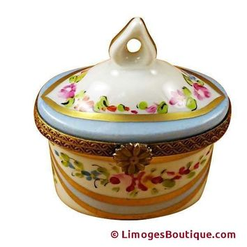 BLUE TRADITIONAL TRINKET BOXES TOP LIMOGES BOXES
