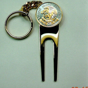 Golf ball marker, Divot, Key chain - Gorgeous 2-Toned Gold & Silver Mexican eagle coin