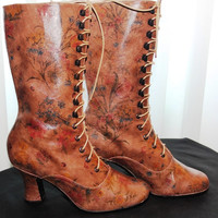 Victorian lace up Boots in limited maroon leather by kioskofoli