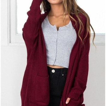 DCCK7XP Women'S Long Sleeve Knitting Cardigan Jacket