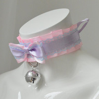 Kitten play collar - Pastel princess - ddlg little princess bdsm proof choker with bell - kawaii cute fairy kei colorful blue and pink