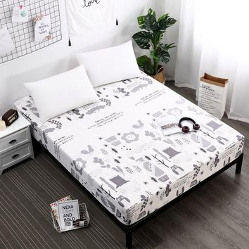 1Pcs Fitted Sheet Deep 25cm Mattress Cover Printed Bedding Linens Bed Sheets With Elastic Band Flamingos Bed sheet Home
