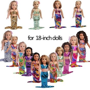 18-inch American Girl Dolls Clothes Fashion Baby Alive Doll Mermaid Clothing Fit Best Gifts for Girls