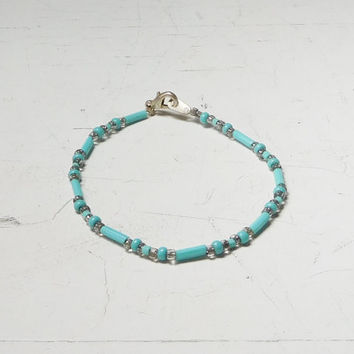"Blue Bracelet Turquoise Clear Seed Beads Beaded Bugle Bead Hippie Beach Style Bohemian Indie Festival Jewerlry 6 1/2"" & 7 Inches Long"