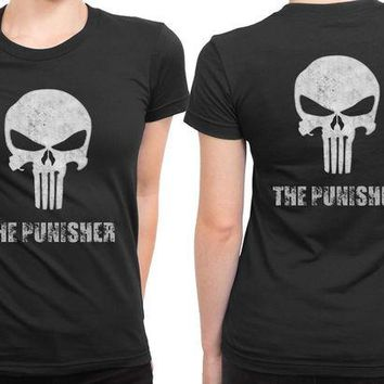 DCCK7H3 The Punisher Logo White 2 Sided Womens T Shirt
