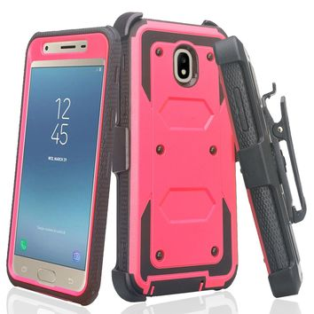 Samsung Galaxy J3 2018, J3 V 3rd Gen, J3 Orbit, Express Prime 3, SM-J337A Case, J3 Star, J3 Achieve, J3 Aura, Amp Prime 3, Triple Protection 3-1 w/ Built in Screen Protector Heavy Duty Holster Shell Combo Case - Hot Pink