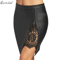 Gamiss 2017 Women Sexy Zipped Bandage Pencil Skirts Lace Insert Fitted Faux Leather Skirt Autumn Zip Up High Quality Mini Skirts