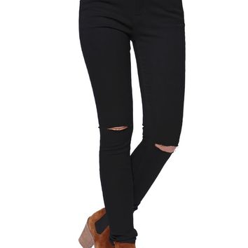 Bullhead Denim Co High Rise Skinniest Slit Knee Black Jeans - Womens Jeans - Black -
