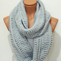 Knitted Soft Grey infinity Scarf Block Infinity Scarf. Loop Scarf, Circle Scarf, Neck Warmer. Gray Crochet Infinity