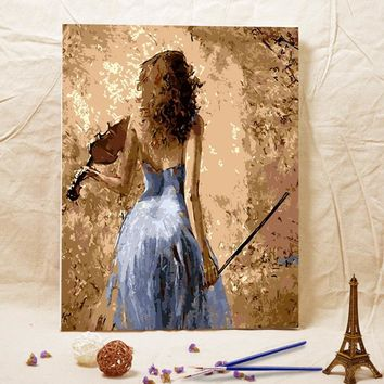 Frameless diy oil painting Woman playing cello acrylic paint wall painting tower from the digital unique Home Decoration gifts