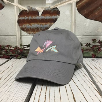 80's Design Baseball Hat Curved Bill Low Profile Embroidered Baseball Caps Dad Hats Gray