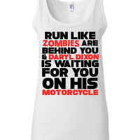 The Walking Dead - Runner Tank - Run Like Zombies Are Behind You And Daryl Dixon Is Waiting For You On His Motorcycle - Funny Gym Shirt