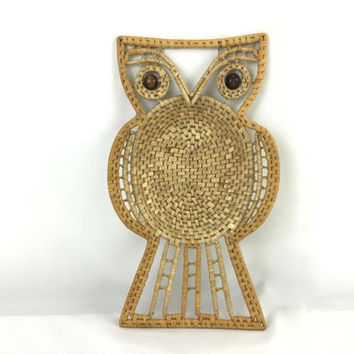 Mid Century Woven Owl Basket 70's Rattan Owl Basket Trinket Tray Whimsical Wise Owl Wall Art
