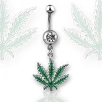 Navel Ring with One Clear Gem and Green Pot Leaf - 14G - 3/8