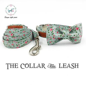 the pretty rose   collar and leash set with bow tie  matel buckle   dog &cat necklace and dog leash  pet accessaries