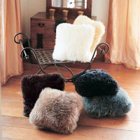 """Luxury Shaggy Faux Fur Throw Pillows 18"""" x 18""""  - Choose Your Color"""