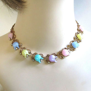 Molded Pastel Plastic Tulip Flowers and Clear Rhinestone Necklace Vintage